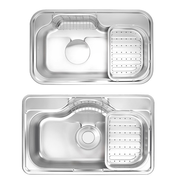 stainless steel kitchen sink and sink accessories like wire basket